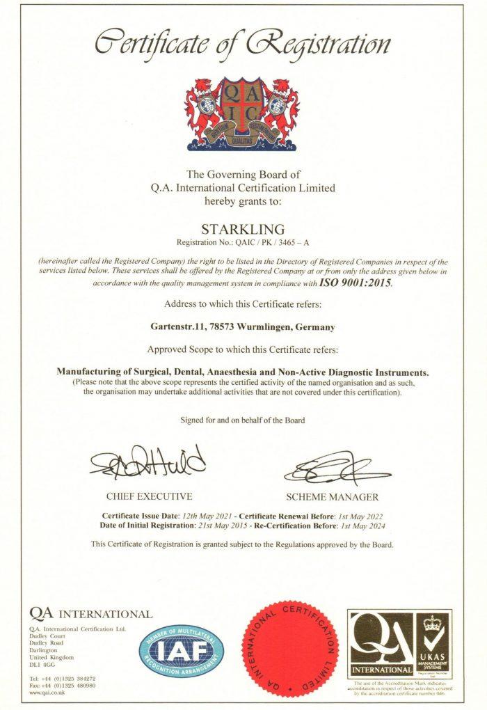 Starkling ISO 9001 Von 2021 700x1020