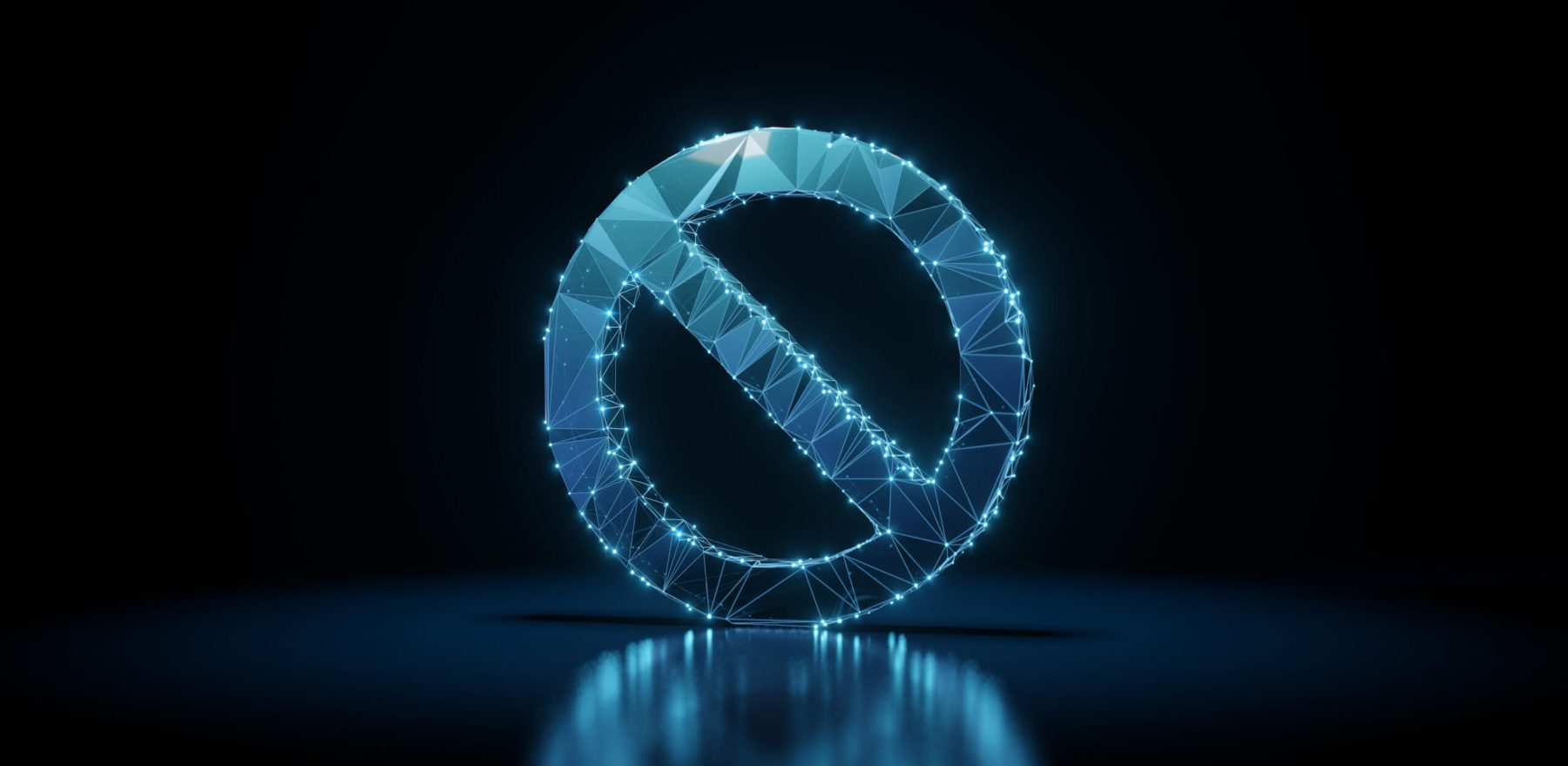 3d rendering wireframe digital techno neon glowing symbol of circle ban sign with shining dots on black background with blured reflection on floor