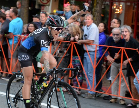 Starla Teddergreen wins the Pro Women's race in the San Rafael Sunset Criterium bike race in downtown San Rafael, Calif. on Saturday, July 29, 2017. (Alan Dep/Marin Independent Journal)