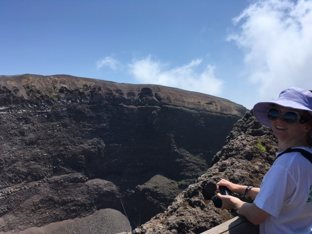 Overlooking the volcanic crater.