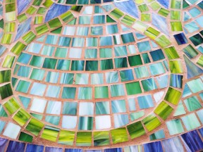 one of the nicest table tops i've seen, simple mosaic using tiles of different shades of green