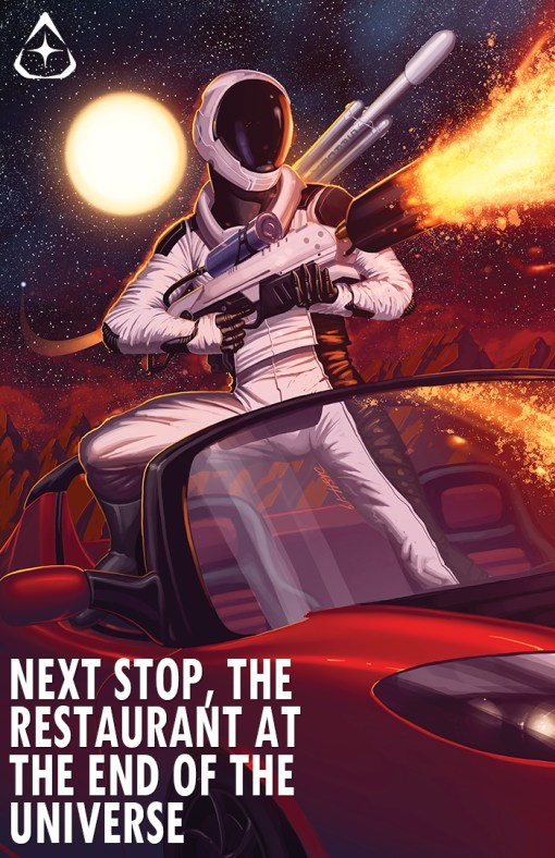 SpaceX Starmam, The Adventures of Starman, Starman Anniversary Print, Next Stop, The Restaurant at The End of The Universe, Elon Musk Starman., Next Stop, The Restaurant at The End of The Universe