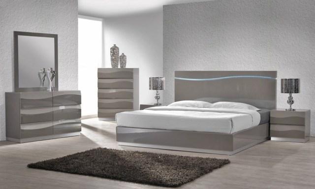 Lion Modern Grey Lacquered Platform Bedroom Set Star ...