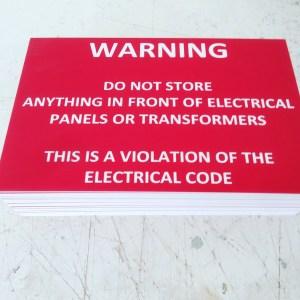 Warning sign, Lamacoid