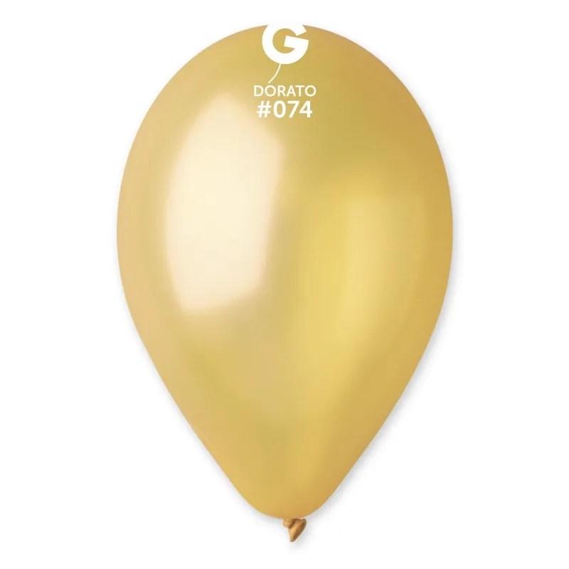Kummist õhupall metalli läikega kuldne (74)