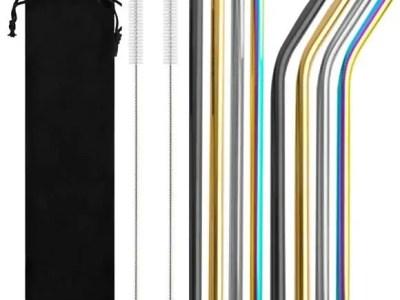 Värvilised roostevabast metallist joogikõrred (8 tk)