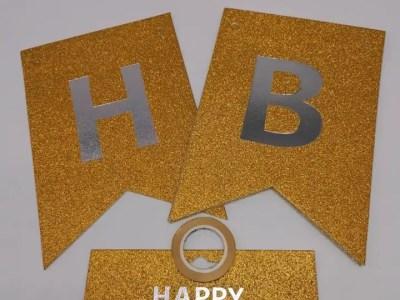 Bänner Happy Birthday kuldne