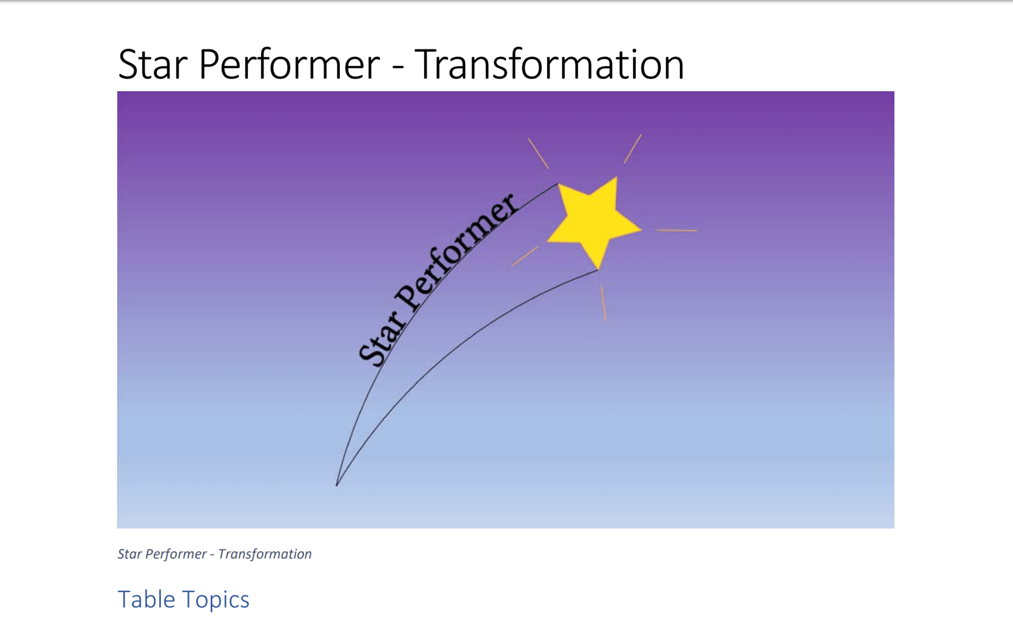Star Performer Transformation Table Topics. Copyright 2018 by Steve J Davis. All Rights Reserved. https://starperformer.info