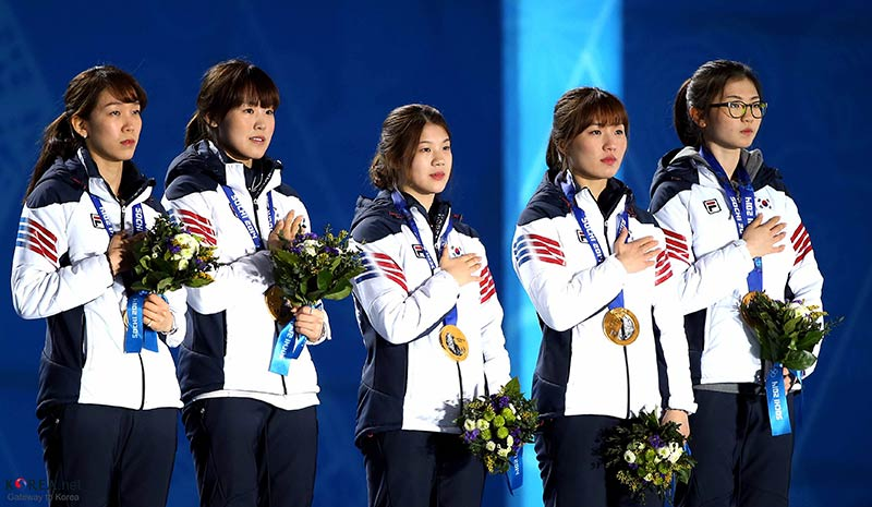 Medal Ceremony for Short Track Ladies' 3000m Relay