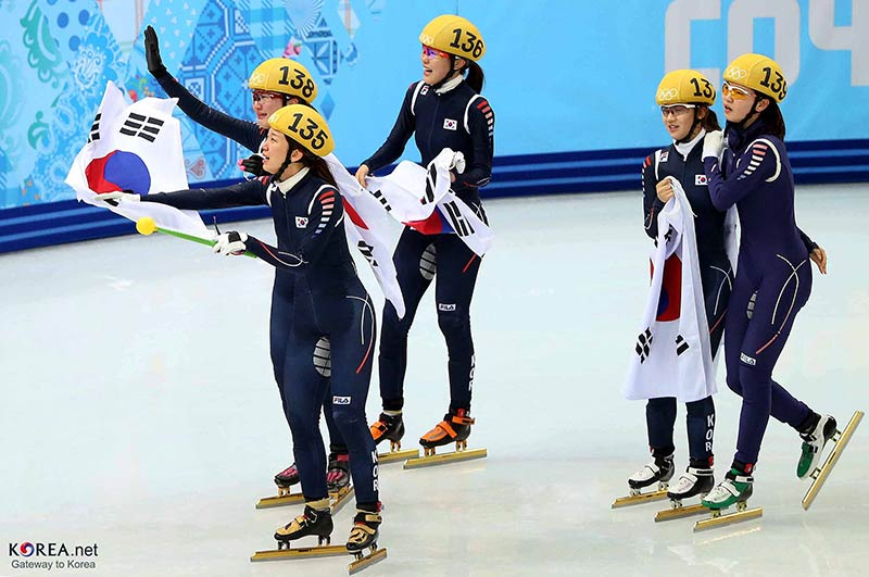 Team Korea won the gold medal in the ladies' 3,000-meter short track relay at the Sochi 2014 Olympic Games in Sochi, Russia.