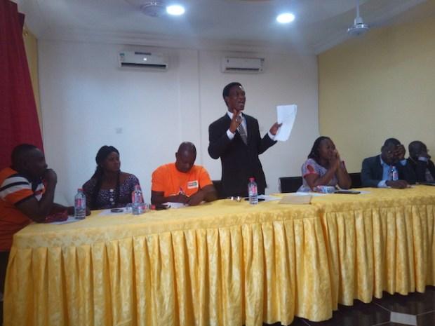ICU-Ghana's Deputy General Secretary in charge of Operations, Morgan Ayawine, addressing workers in the Upper East region