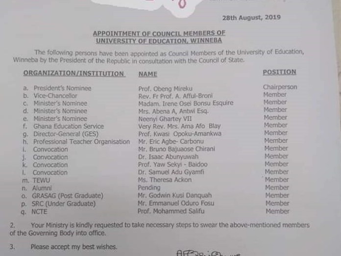 JUST IN: UEW gets new Governing Council 1