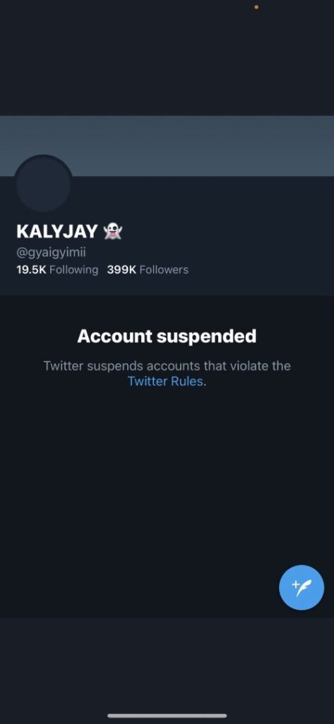 Twitter suspends account of #FIXTHECOUNTRY 'founder' KALYJAY 2