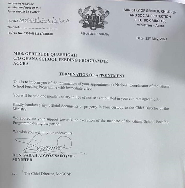 Adwoa Safo reverses decision to sack School feeding Boss 3