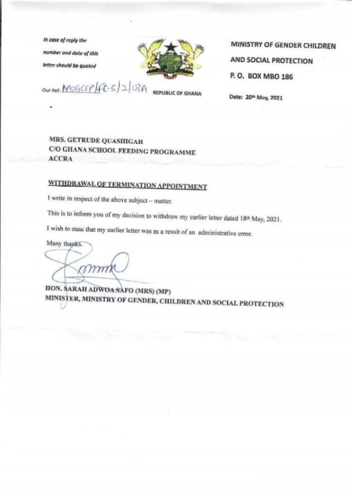 Adwoa Safo reverses decision to sack School feeding Boss 2