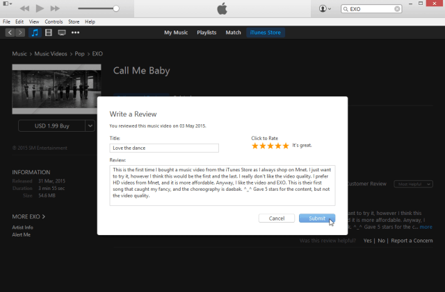 Write a review on iTunes