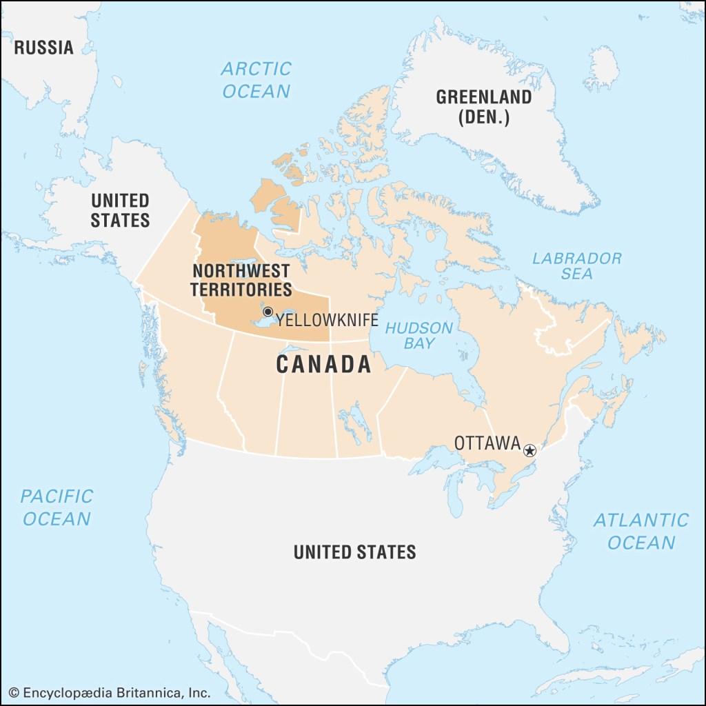 西北地区在加拿大地图的位置
