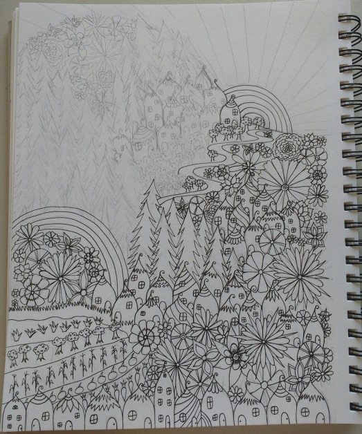 coloring book page in progress