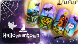Halloweentown ⎮ Halloween Witches ⎮ Freehand Nail Art Tutorial