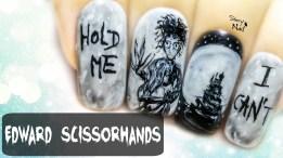 Edward Scissorhands ⎮ Freehand Nail Art Tutorial