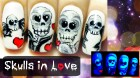 Neon Skulls in Love ⎮Glow in the Dark Halloween Freehand Nail Art Tutorial
