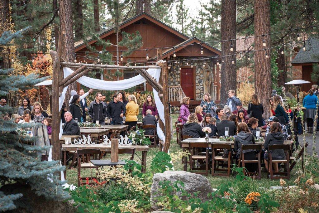 Guests enjoying the wedding reception at Black Bear Lodge