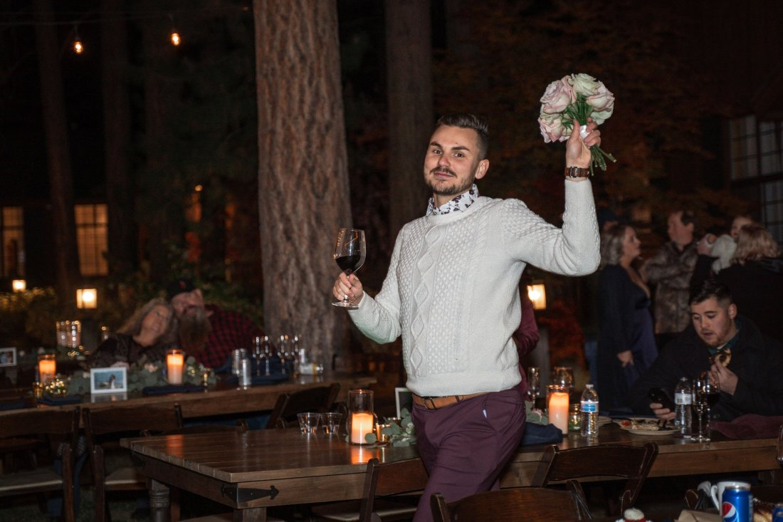 Man who caught the bride's bouquet