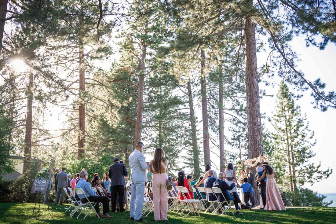 Wedding party and guests surrounded by tall trees at Regan Beach, South Lake Tahoe