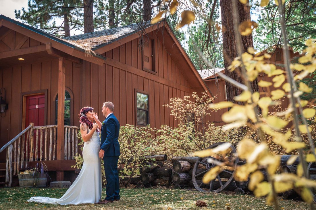 Black Bear Lodge first look for bride and groom