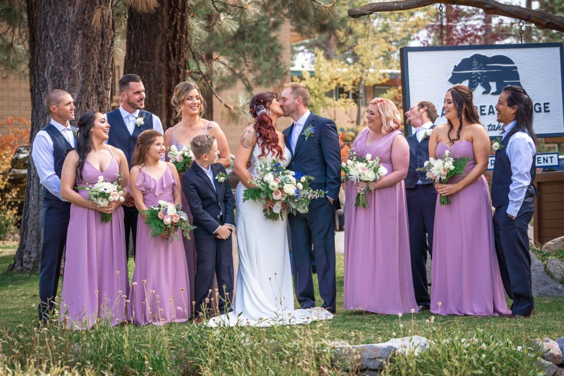 Wedding party in front of Black Bear Lodge in South Lake Tahoe