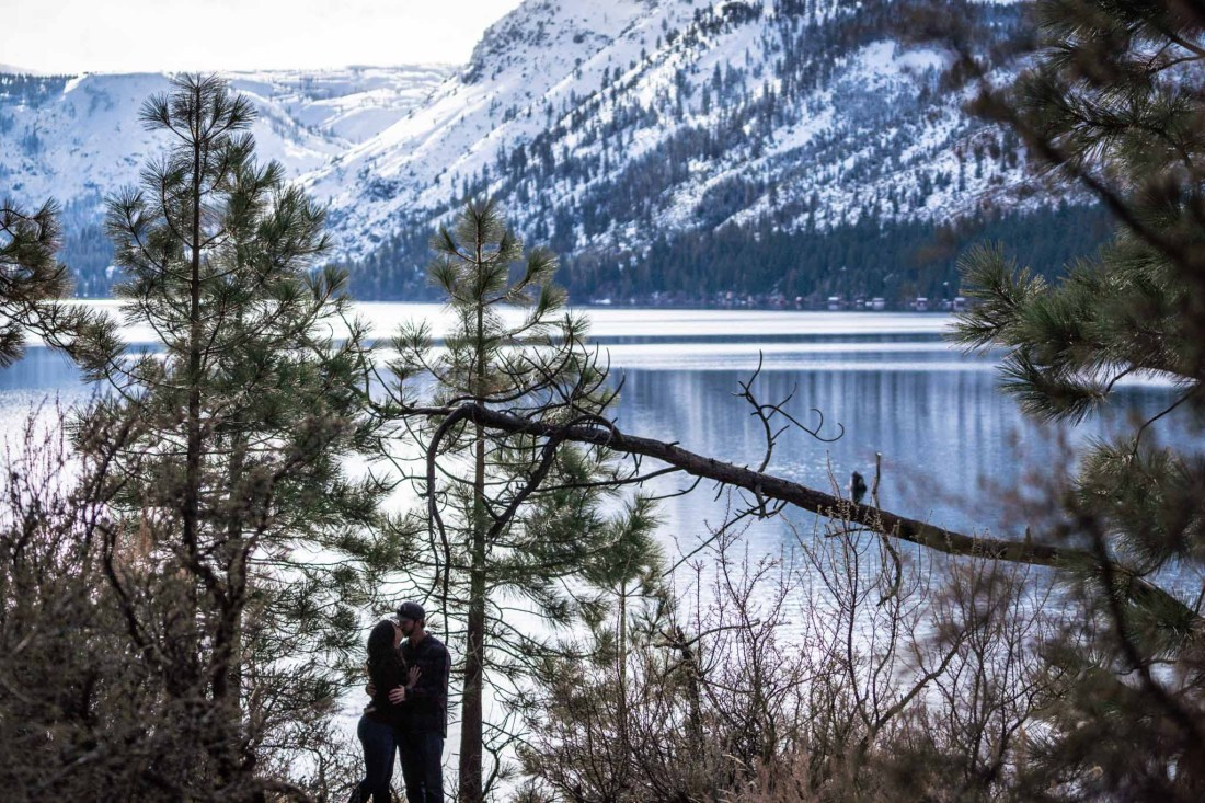Sara and Branden's Lake Tahoe engagement photography session at Fallen Leaf Lake with Mt Tallac in the background