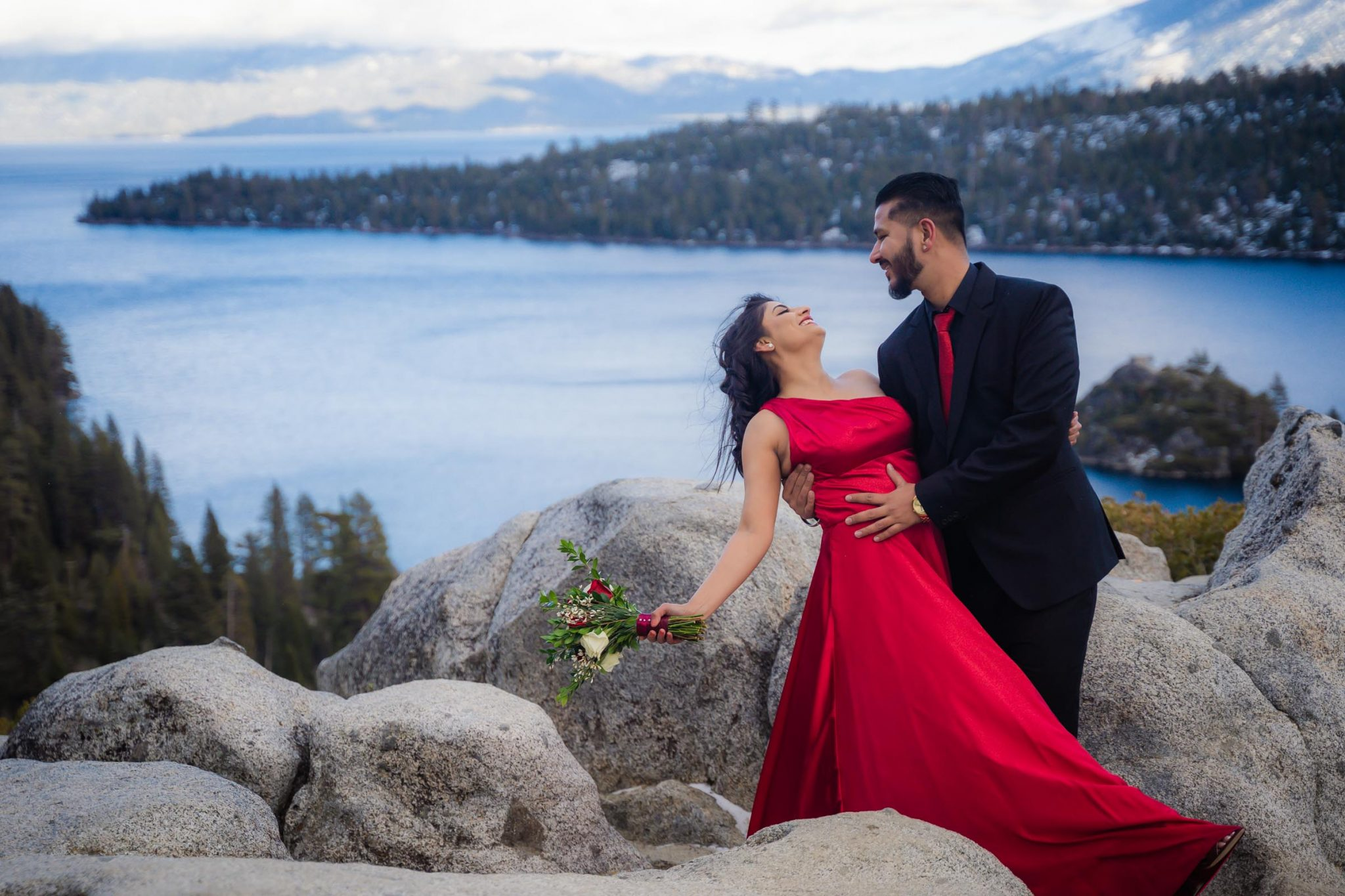 Engagement photos overlooking Emerald Bay - South Lake Tahoe elopement packages