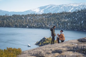 Surprise proposal at Emerald Bay State Park in Lake Tahoe California