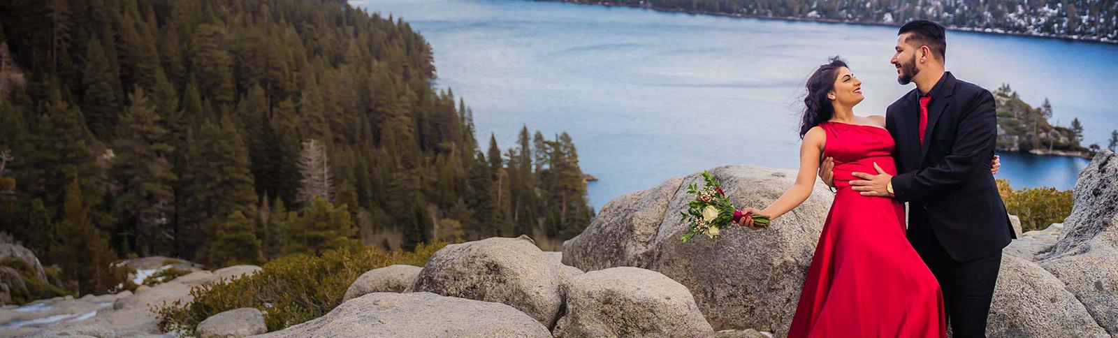 Lake Tahoe photographer Starscape Studios captures an engagement at Emerald Bay California