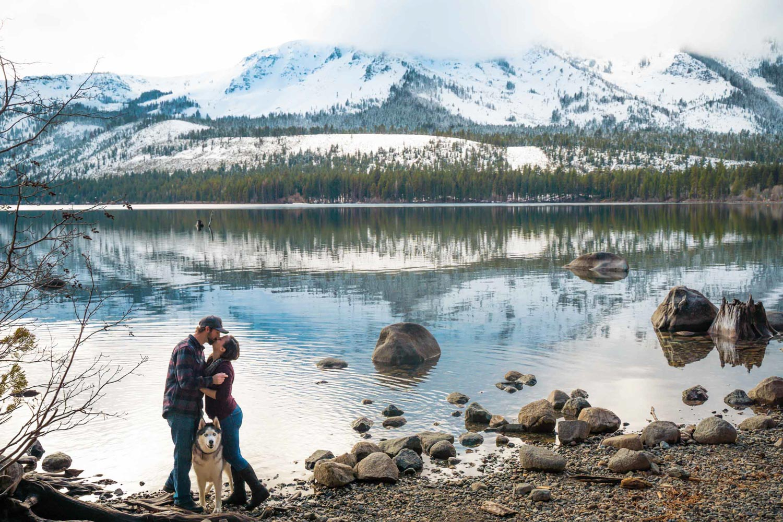 engagement photo session at Fallen Leaf Lake, South Lake Tahoe California