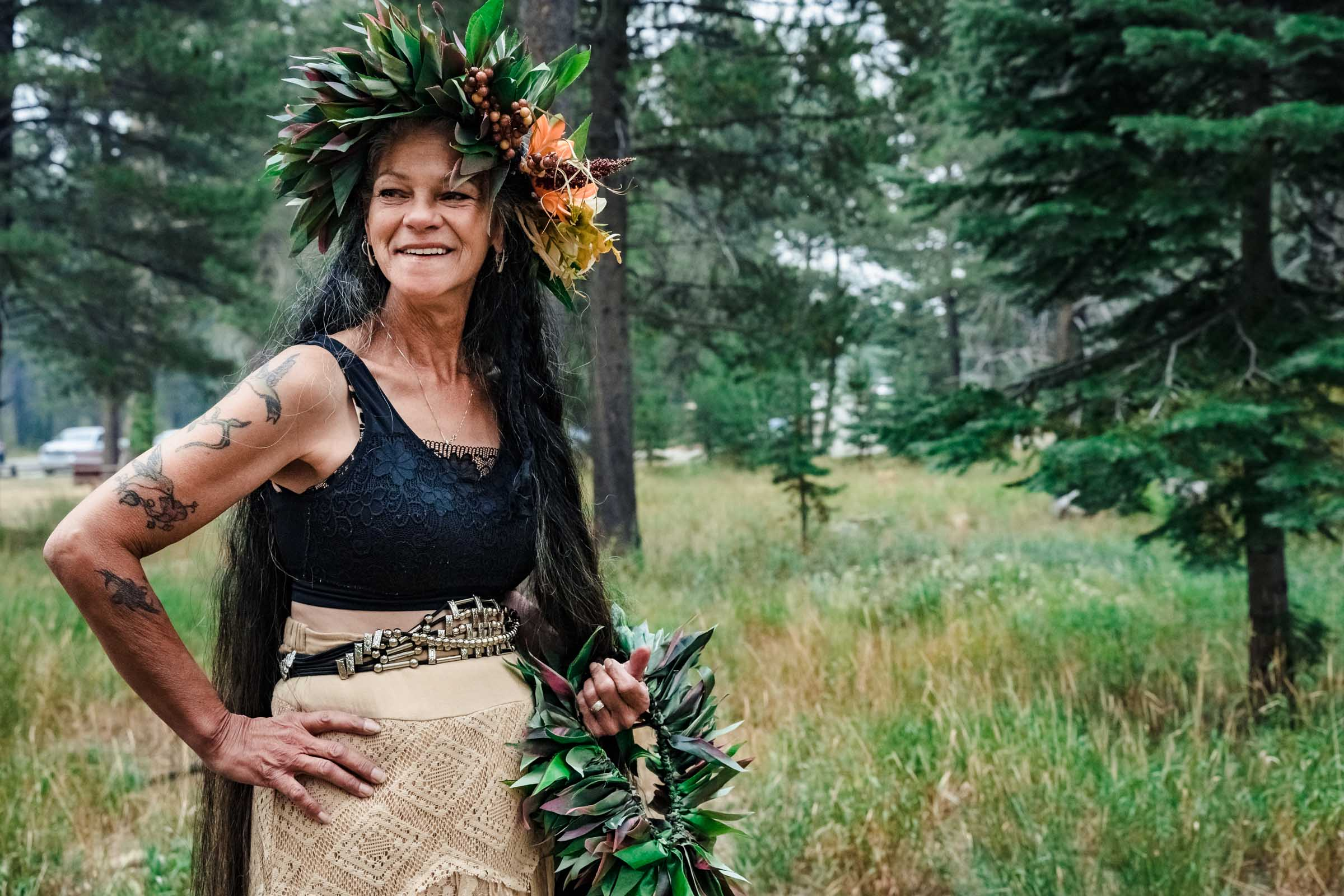 Hawaiian mother dressed for wedding in South Lake Tahoe