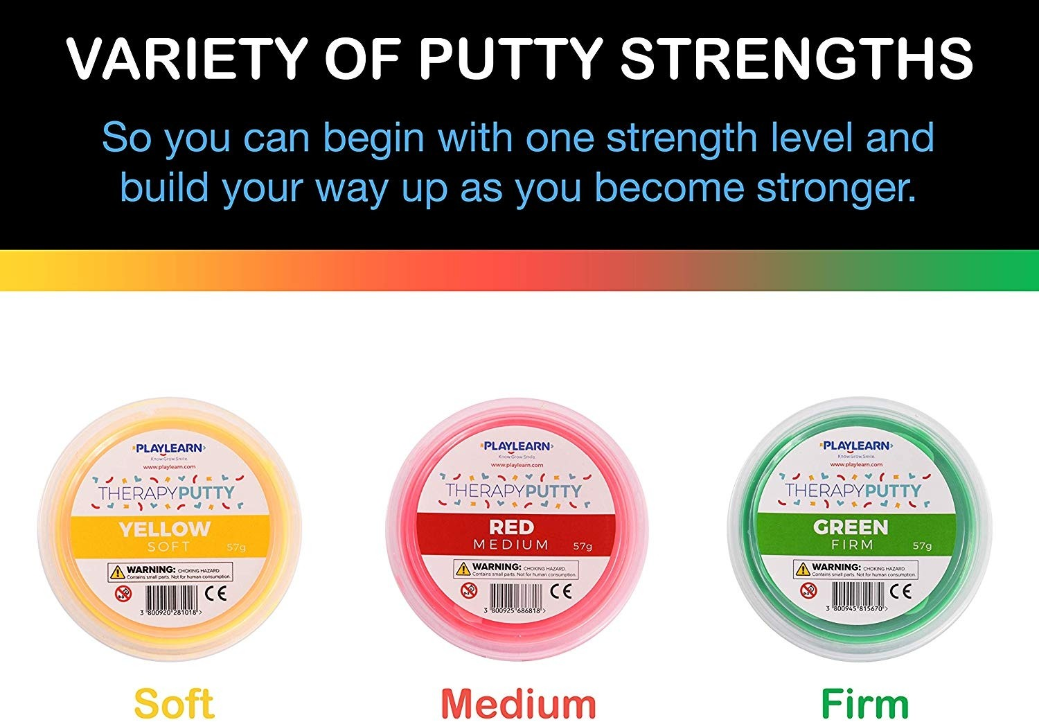 Therapy Putty 3pk Yellow Red Green