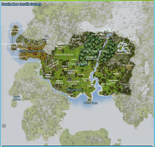 World          Star Stable Central World Map 200 percent marked