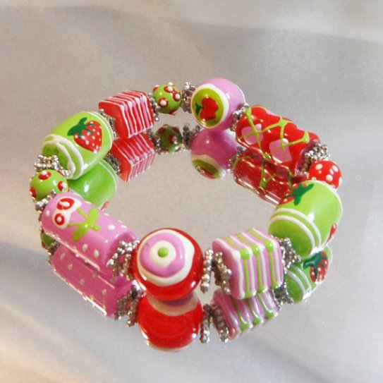 Strawberry and Lime bracelet