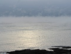 Sea smoke sunrise
