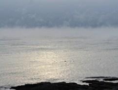 Sea smoke sunrise