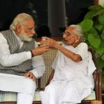 Narendra Modi with his mother