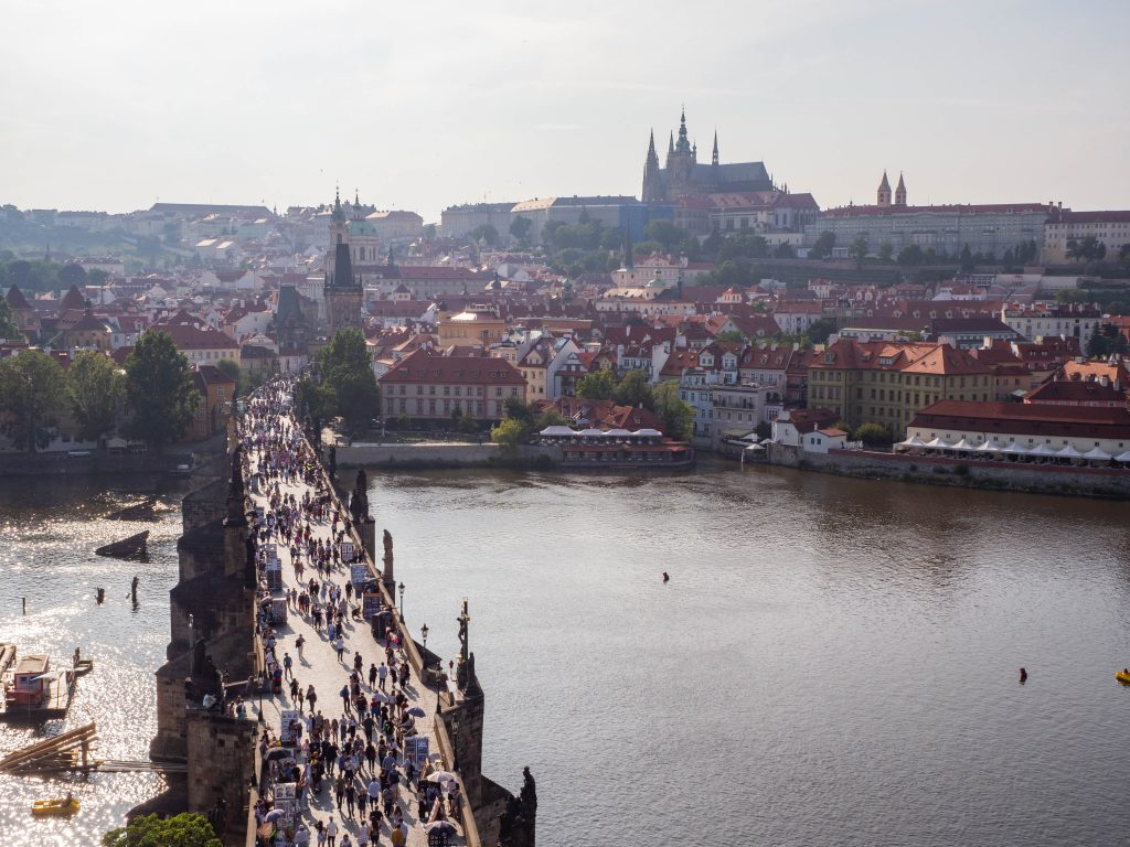 View of Charles bridge from Old town at sunset tower Prague