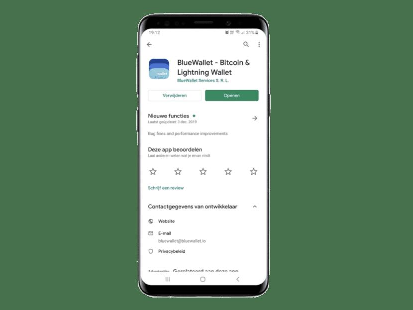 Bluewallet is een Bitcoin wallet net zoals een account