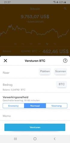 Een transactie duurtijd via een bitcoin wallet.