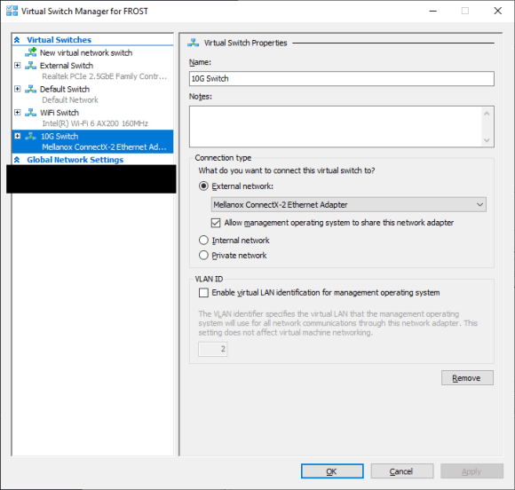 """Virtual Switch Manager in Hyper-V shows a virtual switch called """"10G Switch"""" using the computer's Mellanox ConnectX-2 Ethernet Adapter."""