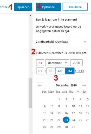 Voorbeeld van hoe blogbericht inplannen
