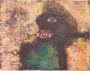 Be Happy. Monoprint. Henry Mzili Mujunga. 2009