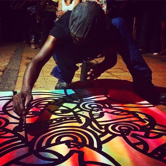 Xenson working round the line magic on that canvas at the start journal fundraiser! - Image: BadStyle Ugandan