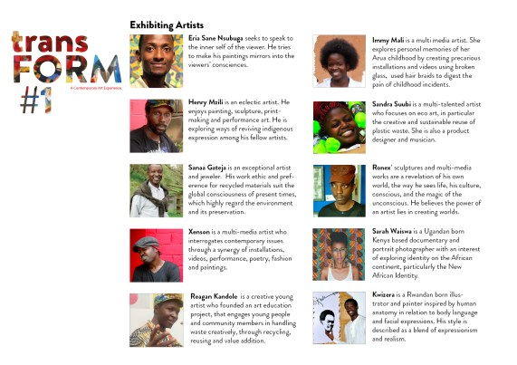 The list of artists that will participate in the transFORM#1 exhibition.